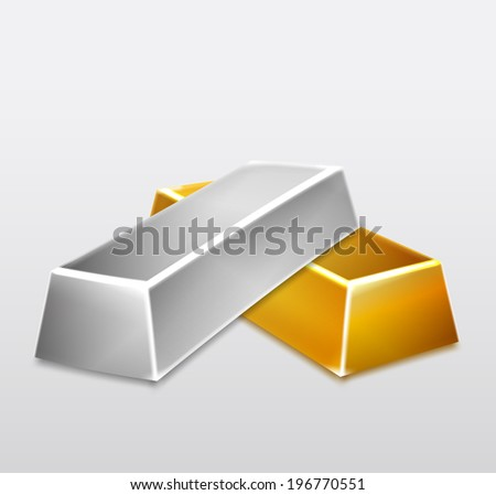 golden and silver bars on white