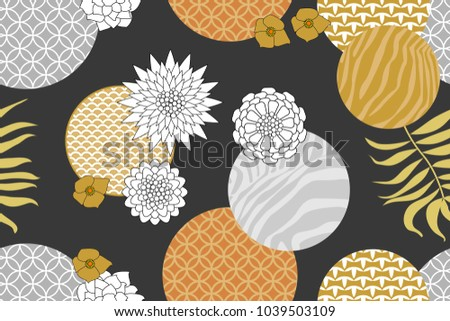 Golden and silver floral pattern with Japanese motifs. Minimalism style. Abstract geometric flowers, zebra prints, ornale circles and palm leaves on dark grey background. Oriental textile collection.