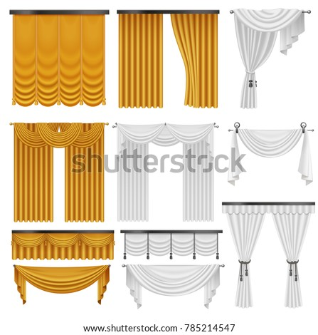 Golden and white velvet silk curtains and draperies set. Interior realistic luxury curtains decoration design.