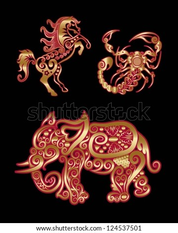 Golden animals ornament. Horse, scorpion, elephant, with floral decoration.