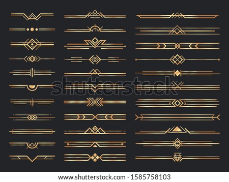 Golden art deco dividers. Vintage gold ornaments, decorative divider and 1920s header ornament. victorian deco interior dividers, luxury geometric borders. Isolated vector signs set