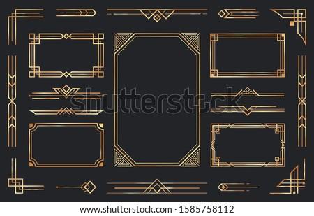 Golden art deco ornaments. Arabic antique decorative gold border, retro geometric ornamental frame and ornate golden corners. Geometry deco label, old victorian decoration. Isolated vector symbols set