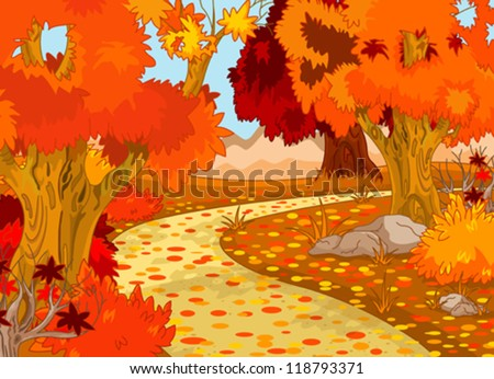 golden autumn forest landscape