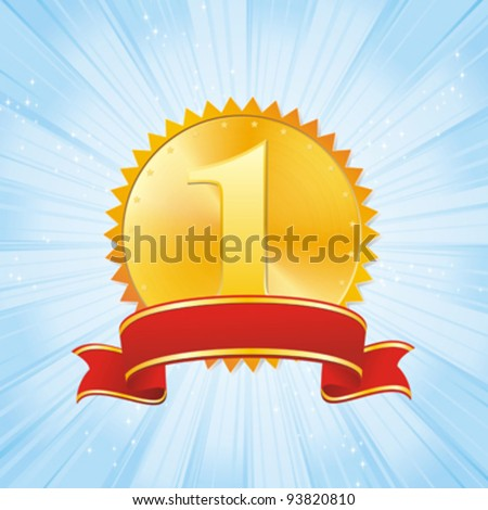 golden award and red ribbon on strip blue background