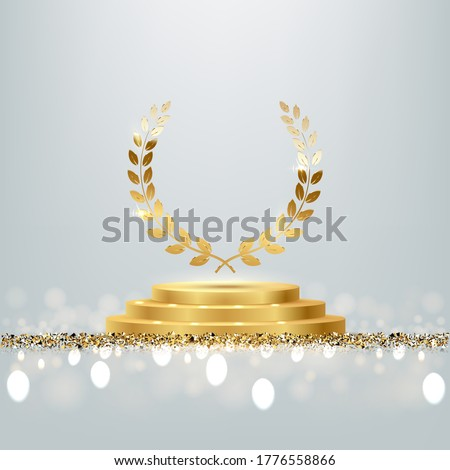 Golden award round podium with laurel wreath, shiny glitter and sparkles isolated on light background. Vector realistic illustration of symbol of victory, achievement of success, rewarding of winner