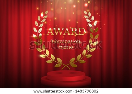 Golden award sign with laurel wreath and podium isolated on red curtain background. Vector award design template