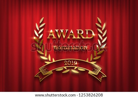 Golden award sign with laurel wreath and ribbon isolated on red curtain background. Vector horizontal award ceremony invitation template