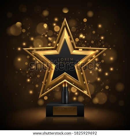 Golden award with back bokeh effect