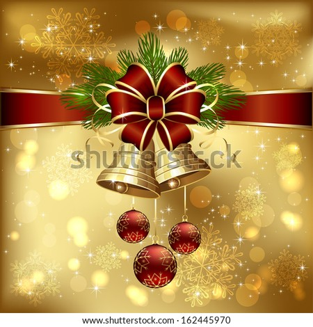Golden background with Christmas bells, red bow, spruce branches and baubles, illustration.