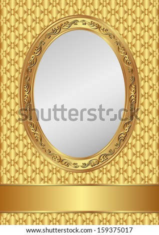 golden background with oval frame and copy space