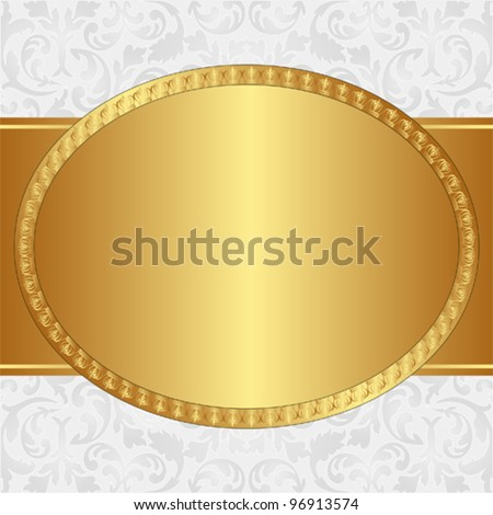 golden background with oval frame and floral ornaments