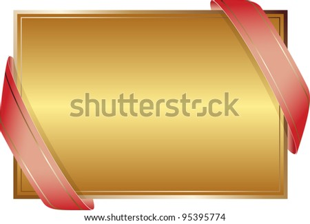 golden background with ribbons - stock vector