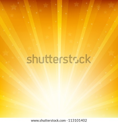 Golden Background With Sunburst And Stars, Vector Illustration