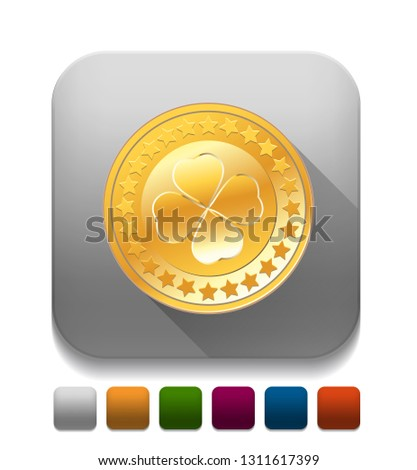 Golden badge With long shadow over app button