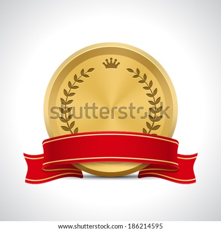golden badge with ribbon