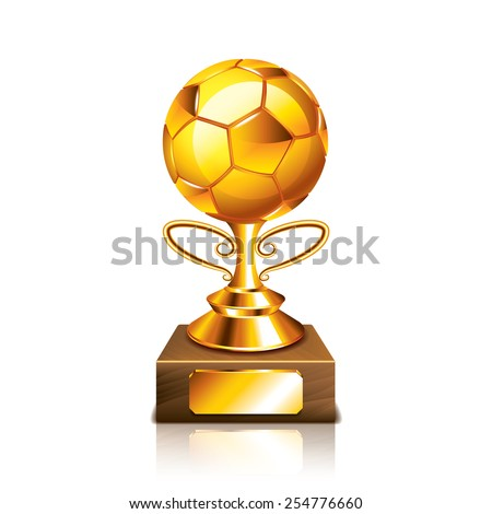 Golden ball figurine isolated on white photo-realistic vector illustration