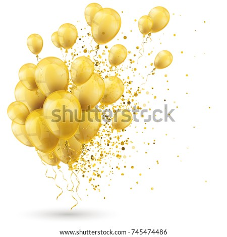 Golden balloons and golden particles on the white. Eps 10 vector file.