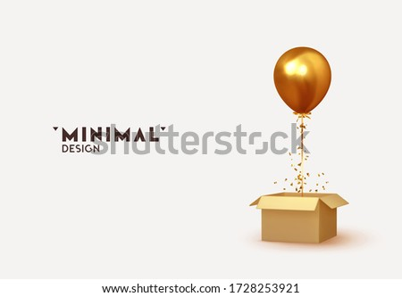 golden baloon with box and