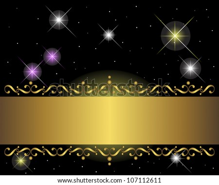 Golden banner on black background with glittering stars. Vector illustration.