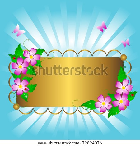 pictures of flowers and butterflies. stock vector : Golden banner with beautiful flowers and butterflies. Vector.