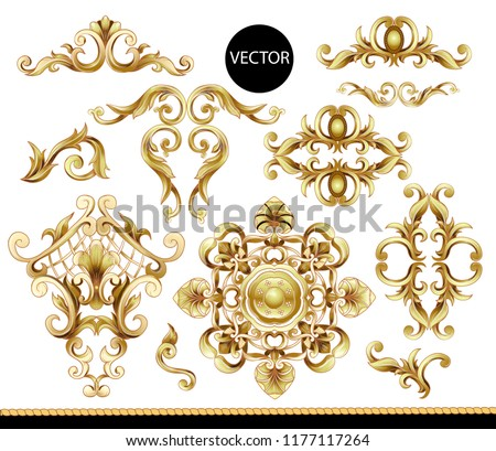 Golden baroque elements isolated. Vector
