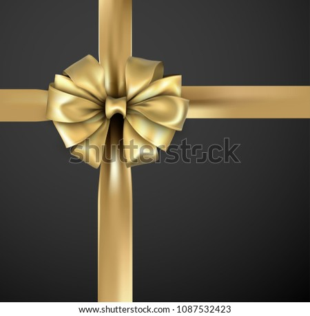 Golden beautiful realistic bow with satin ribbon for gift wrap on black background. Vector illustration.