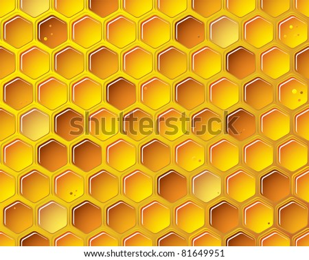 golden bee honeycomb background with bubbles