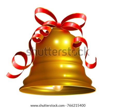 Golden bell with red ribbon symbol accessory christmas. Isolated on white vector illustration