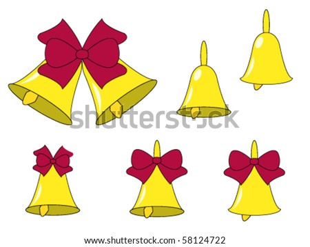Golden bells with red bows isolated on white background