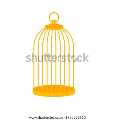 Golden bird cage, isolated on white. Cartoon simple design. Vector illustration. Foto stock ©