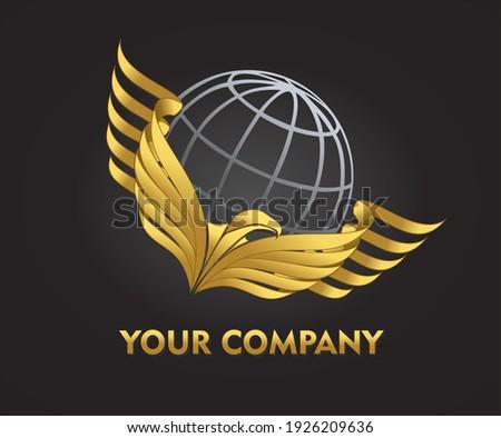 Golden bird carrying wireframe globe logo illustration in vector eps format Photo stock ©