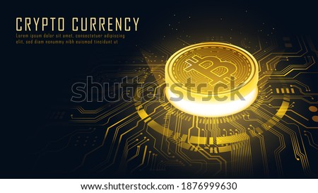 Golden Bitcoin blockchain technology isometric concept suitable for future technology banner or or cover. Isometric vector illustration