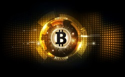 Golden bitcoin digital currency, futuristic digital money and technology worldwide network concept, vector illustration