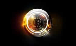 Golden bitcoin digital currency, futuristic digital money, technology worldwide network concept, vector illustration