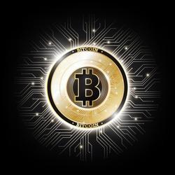 Golden bitcoin digital currency on circuit board, futuristic digital money, technology worldwide network concept, vector illustration
