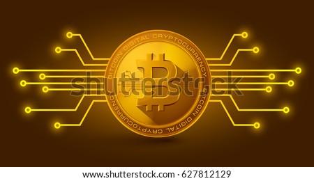 Golden bitcoin digital currency. vector illustration
