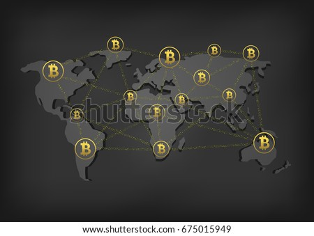 golden bitcoin signs on the