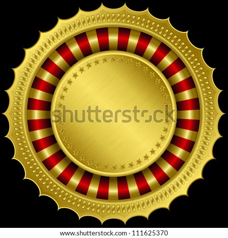 Golden blank label, vector illustration