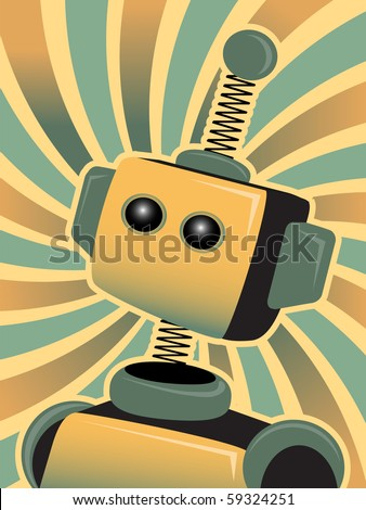 Golden Blue Robot looks up accented by swirly colorful background