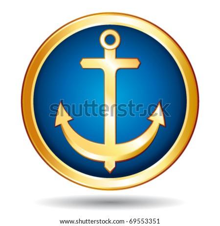 Golden boat anchor icon. Vector illustration.