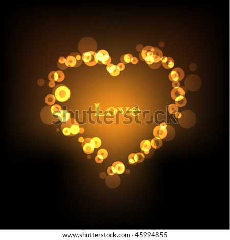 stock vector : Golden bokeh vector Valentine's background