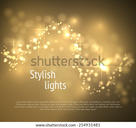 Golden bokeh wave vector background. Vector eps10.