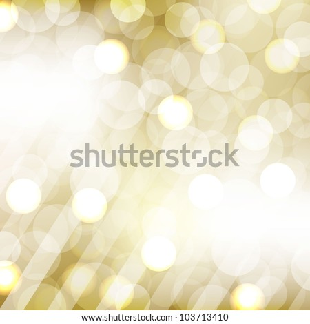 Golden Bokeh With Blurred Background, Vector Illustration