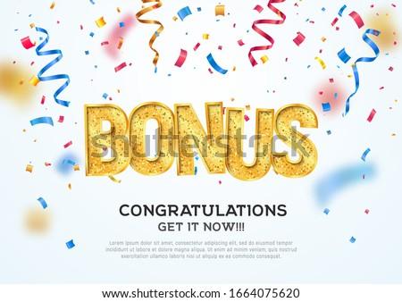 Golden bonus word on falling down confetti background. Winning vector illustration