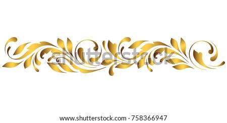 stock-vector-golden-border-floral-swirls-and-flowers-decorative-design-element