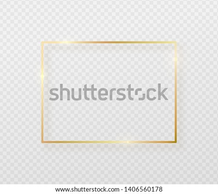 Golden border frame with light shadow and light affects. Gold decoration in minimal style. Graphic metal foil element in geometric thin line rectangle shape.