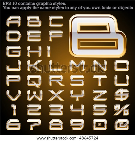 Golden bordered typeface. File contains graphic styles available in the Illustrator 10 + You can apply the styles to any of you own fonts or objects