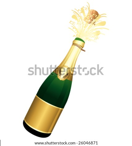Golden bottle of Champagne vector illustration - stock vector