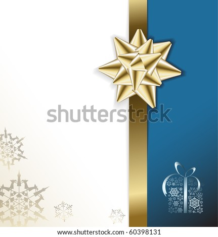 golden bow on a ribbon with white and blue background - vector Christmas card