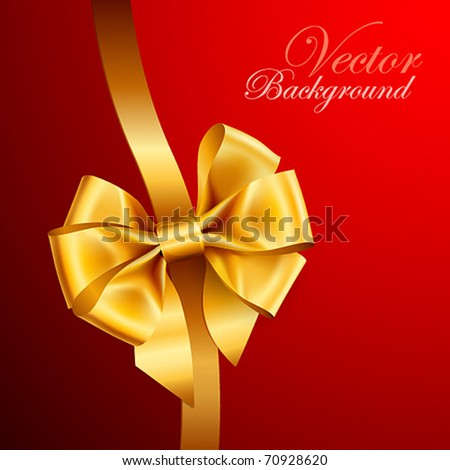 golden bow on red background. Vector illustration